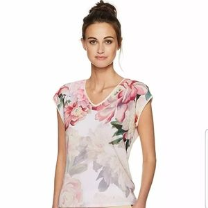 TED BAKER Kushine Painted Posie pink floral top